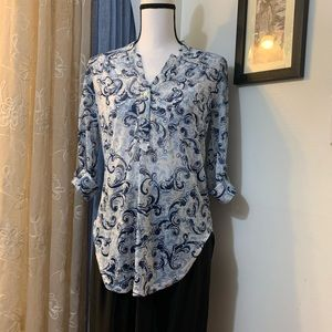 DNA Couture Blue Printed Blouse